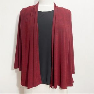 VINTAGE SUZIE NWOT 2 piece look two-fer top Soft polyester knit. Red & black M